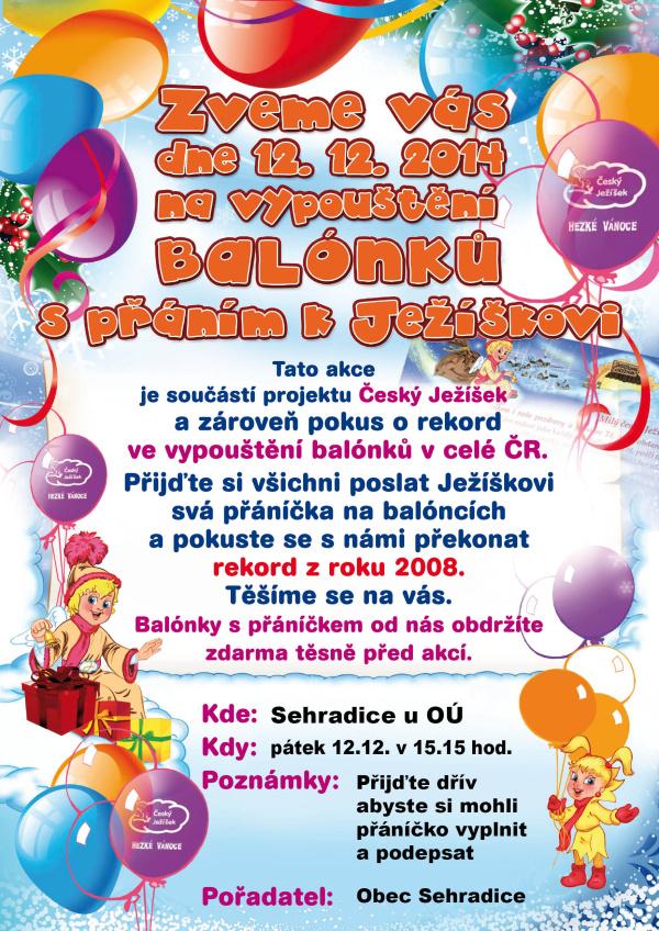 Vypouštění balónků s přáním k Ježíškovi - 12. 12. 2014