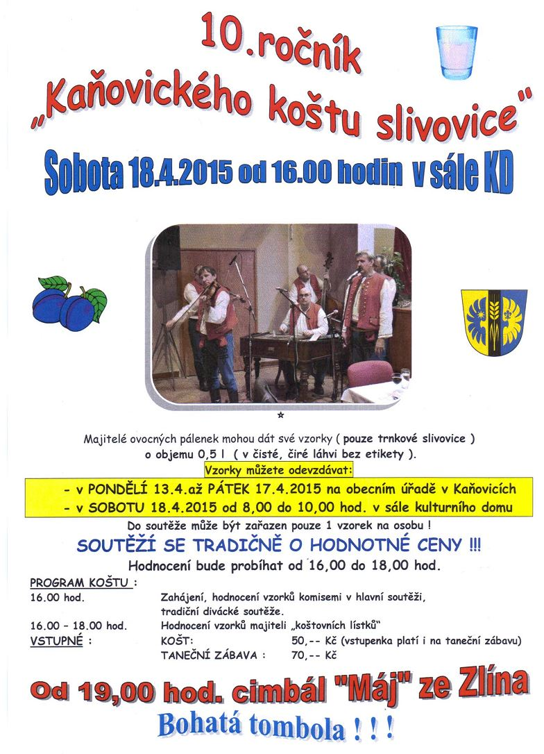10. ročník koštu slivovice  - 18. dubna 2015