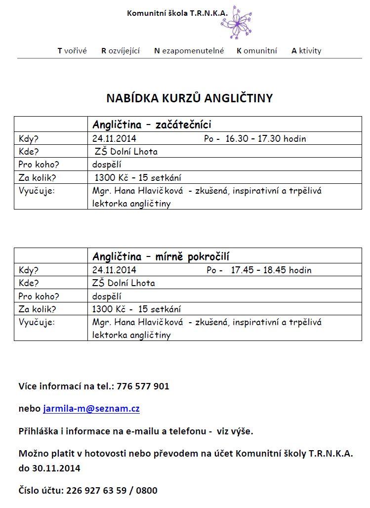 Nabídka kurzů angličtiny