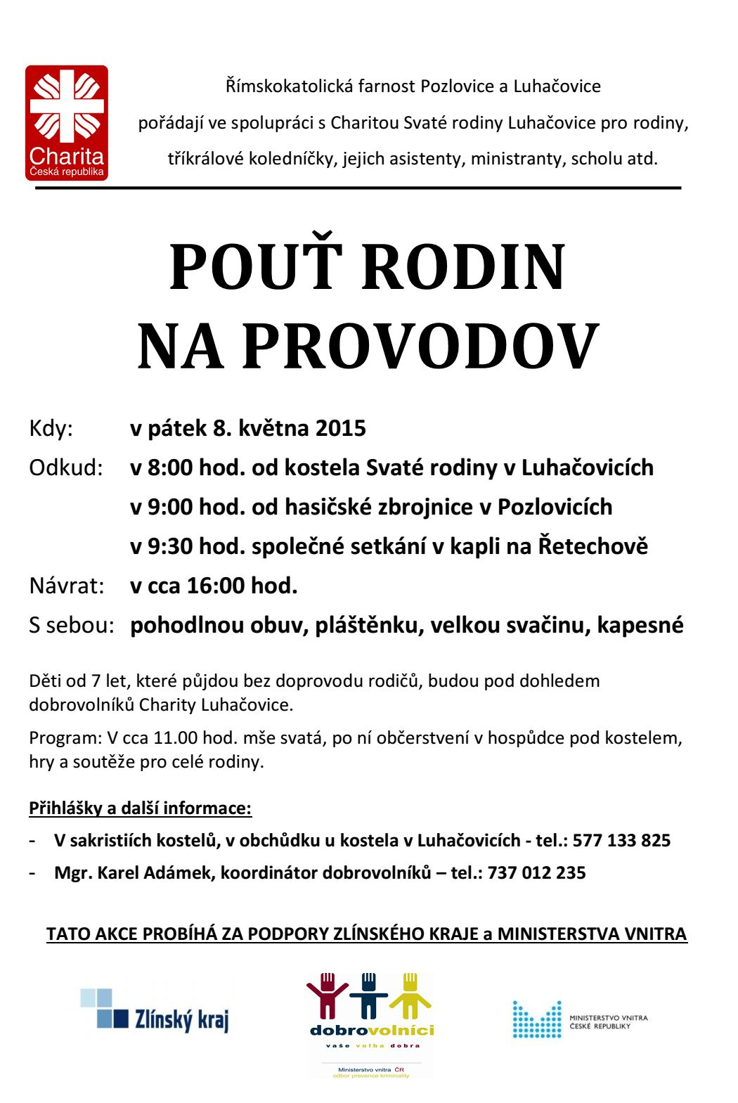 Pouť rodin na Provodov - 8. 5. 2015