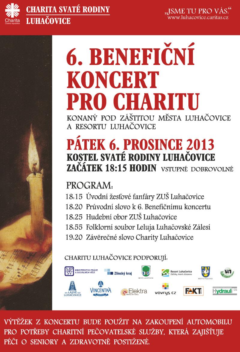 Pozvánka na 6. Benefiční koncert pro Charitu Luhačovice
