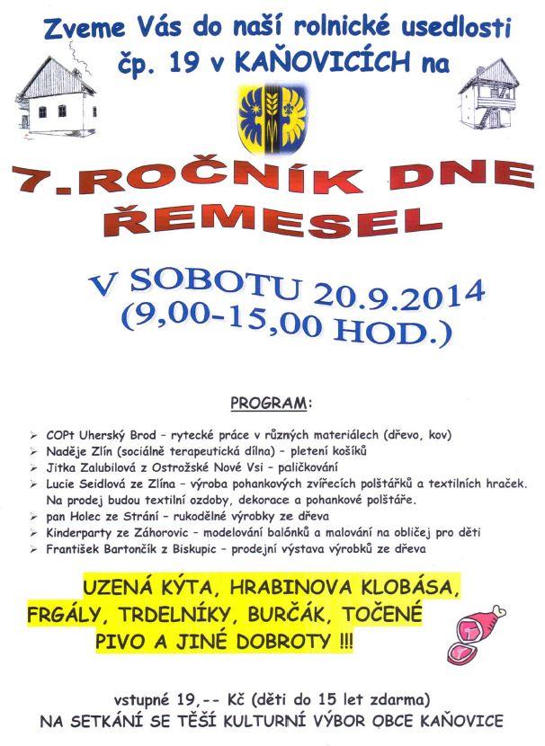 Den řemesel - Kaňovice 20. 9. 2014
