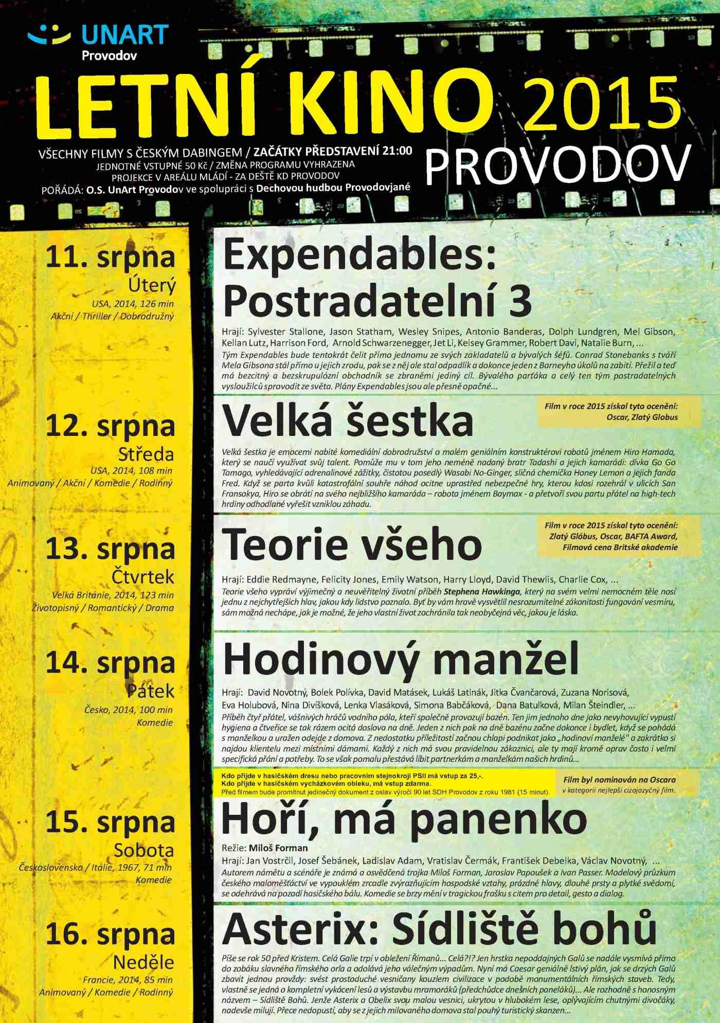programem na letošní 45. ročník letního kina v Provodově