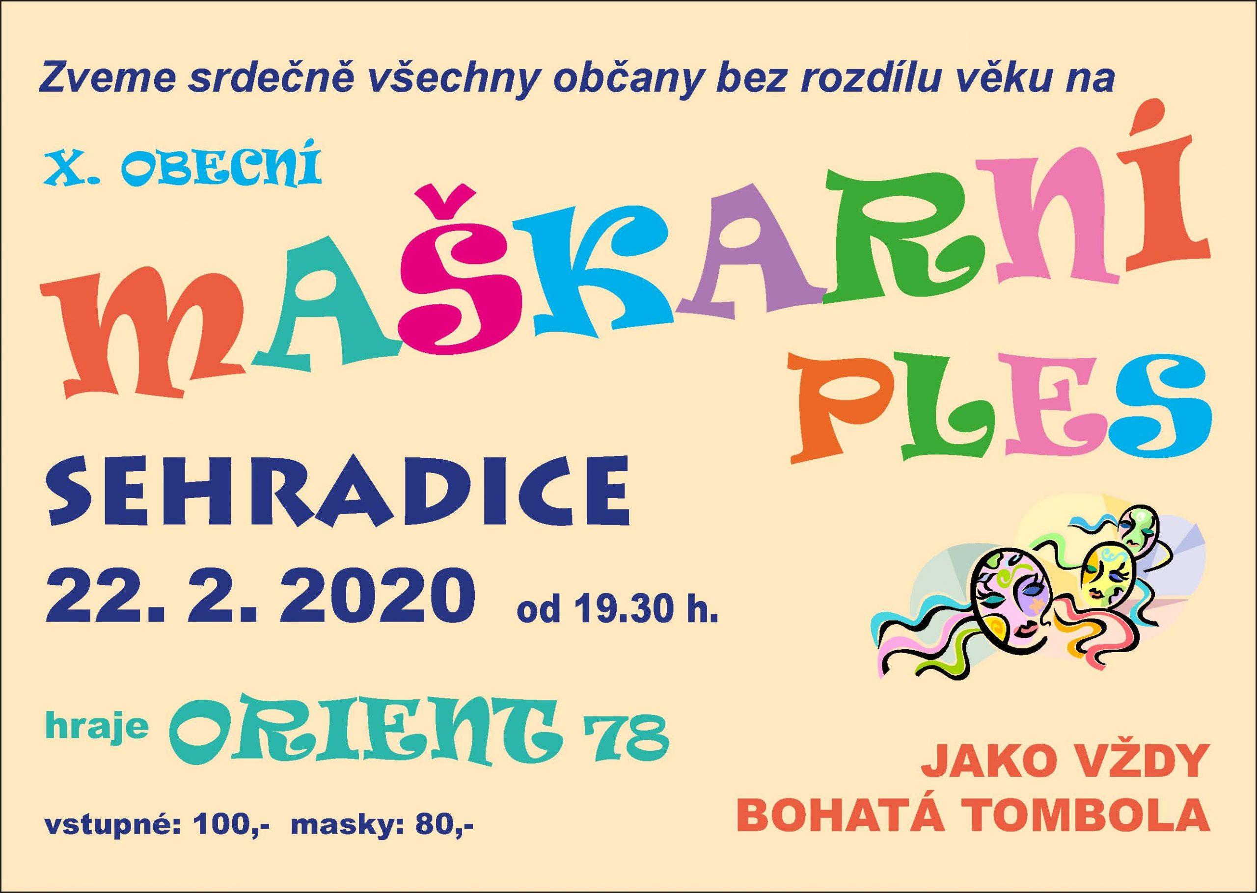 X. Obecní maškarní ples - 22. 2. 2020