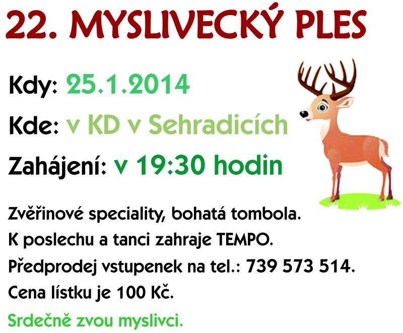 22. myslivecký ples - 25. 1. 2014