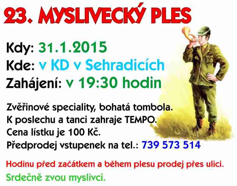23. Myslivecký ples - 31. 1. 2015
